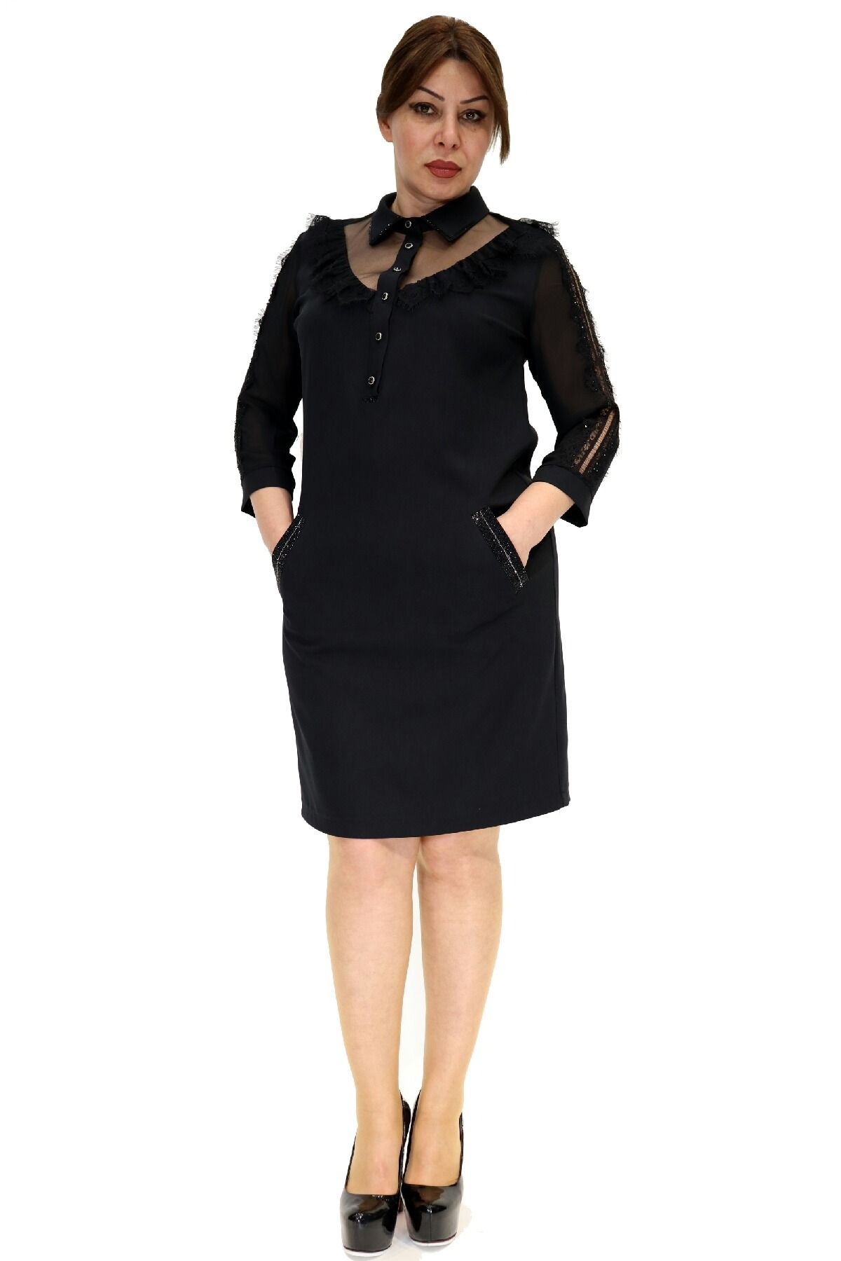 Straight-cut dress with lacy stones neckline and long sleeves and pockets