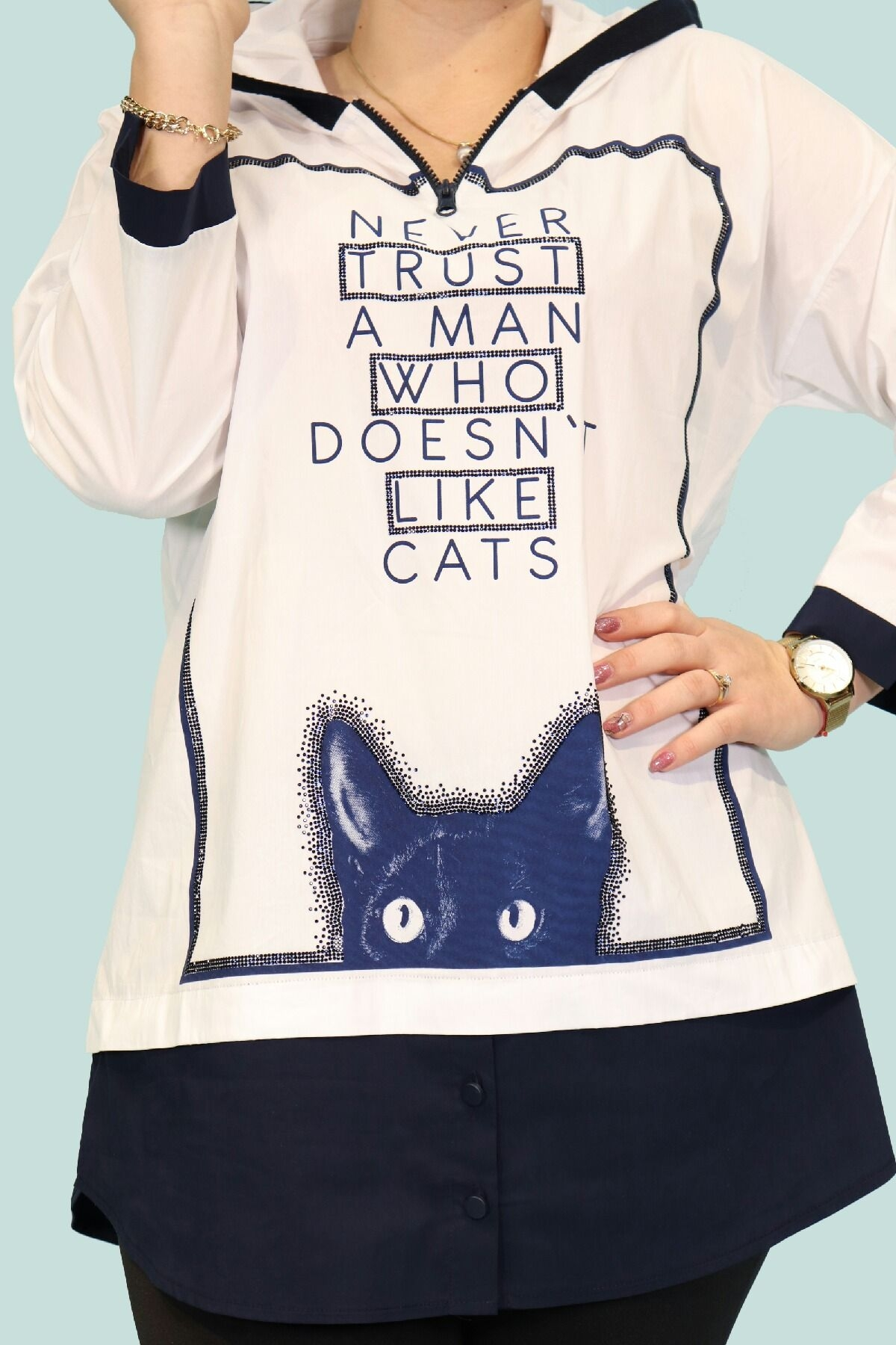 cat and text print hooded blouse