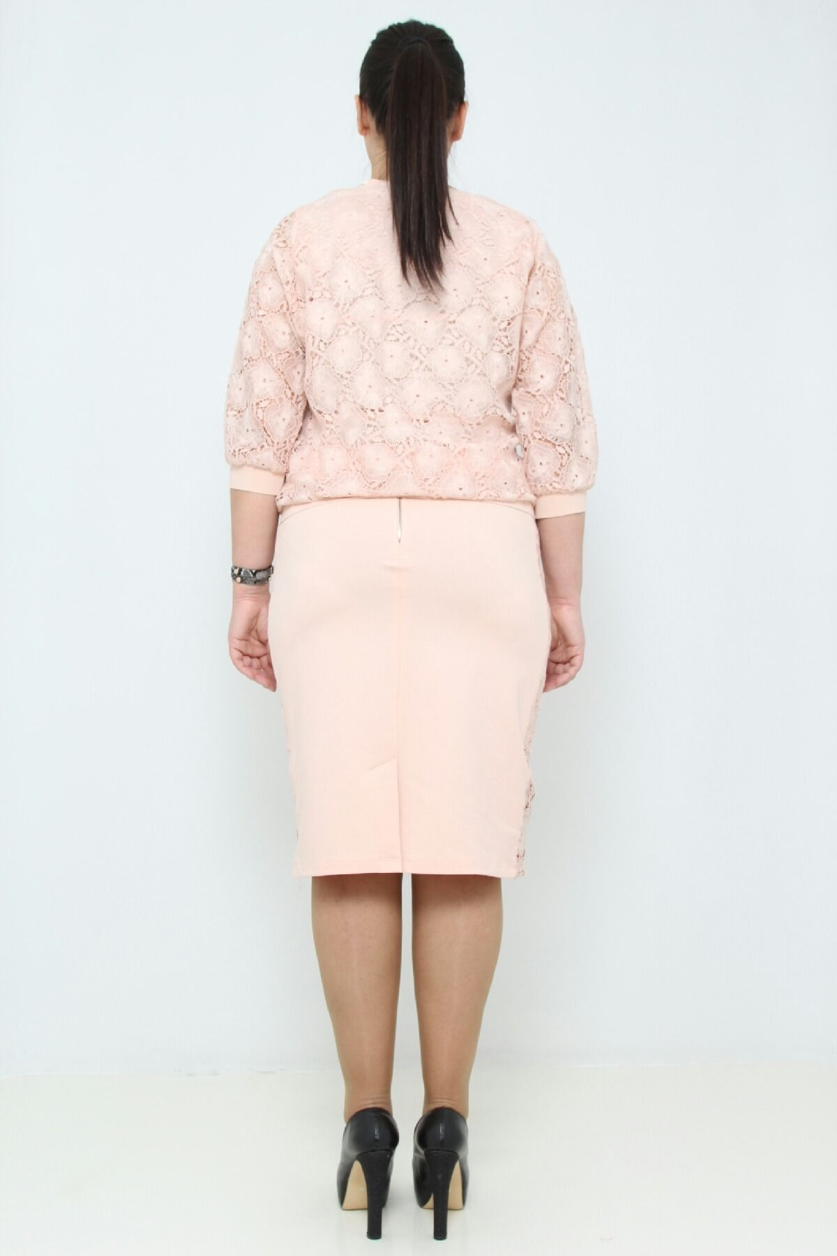 Suit with lace blouse and skirt