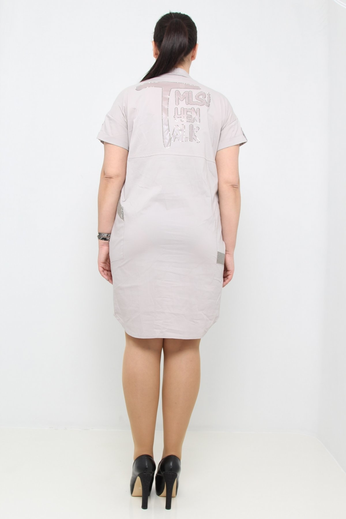 back-printed tunic dress with button