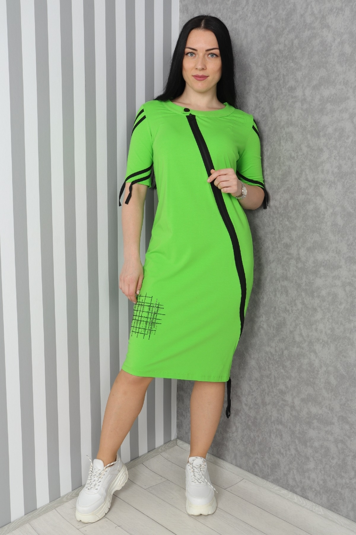 Striped, zipper  sport style dress with pockets
