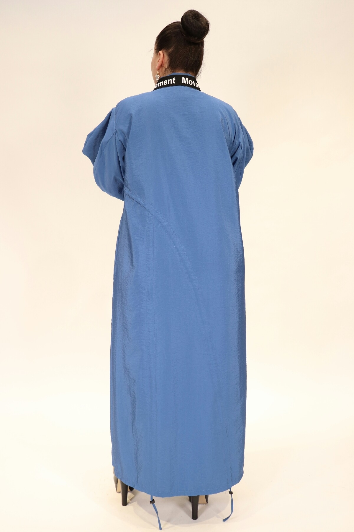 Baggy long dress with pocket zipped collar